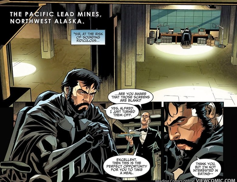 Batman eats mac and cheese. source: Injustice – Gods Among Us – Year (4) Four 001 link: . THE tfl IFIC LEAD MINES, ALASKA. AIEE -you awn: ' ARE BLANK'? I TURNED
