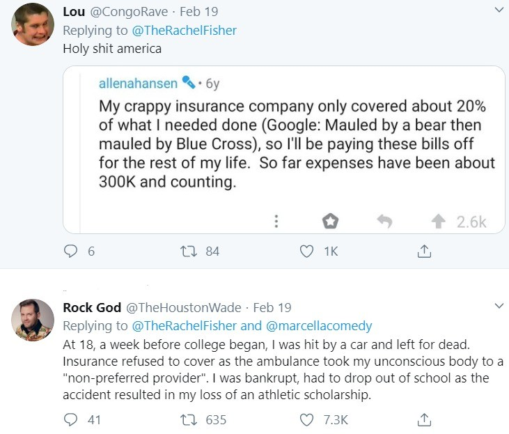 Being robbed blind. .. You may not agree on socialized healthcare but you're retarded if you don't think we need someone to Teddy Roosevelt these insurance and pharma companies until