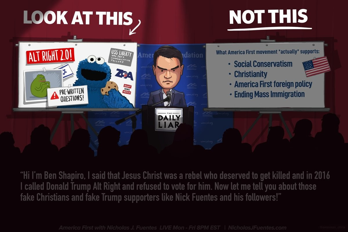 BEN SHAPIRO ASSRAPES CONSERVATIVES WITH STRAWMEN AND FALLACIES. .. Its almost as Zionists only serve israel