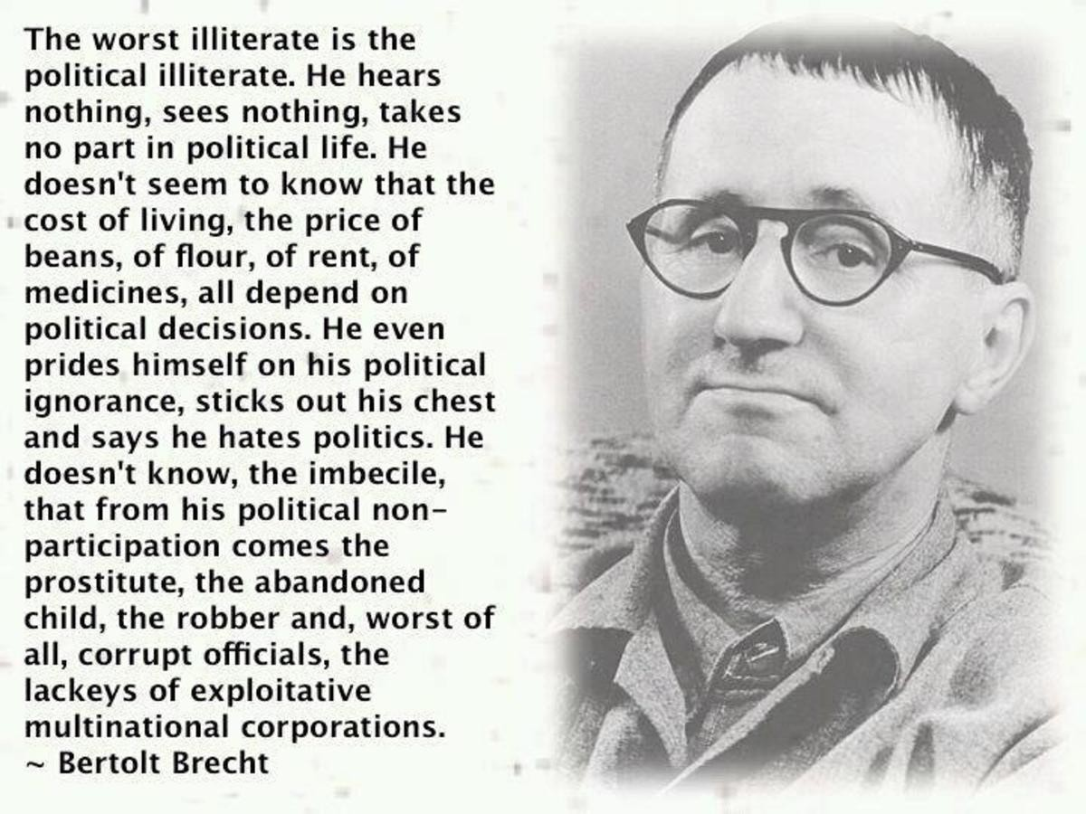 Bertolt Brecht. join list: Learning (1080 subs)Mention History.. I hate politics. I despise politics. But hate, and ignorance, are two separate things I do not hate that which I do not understand And I am rather intimate with