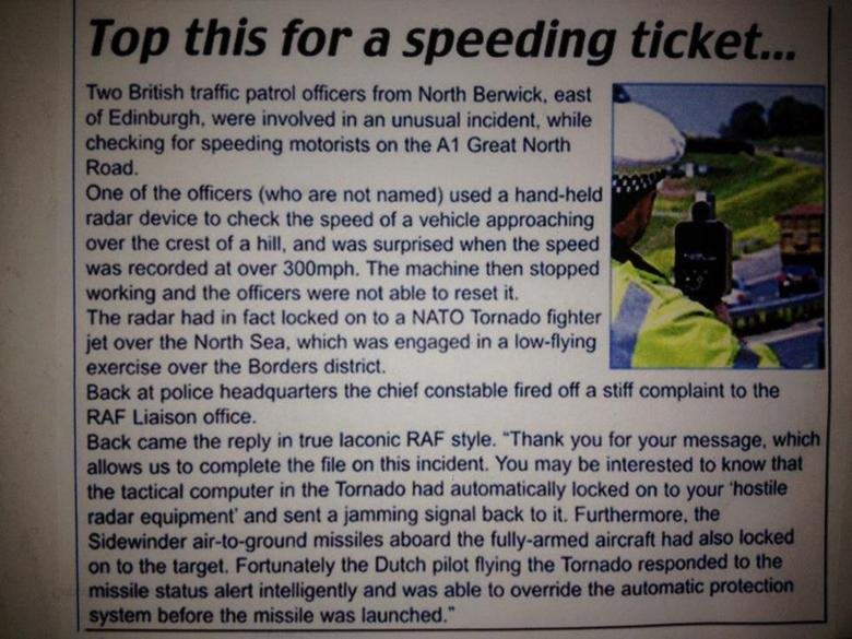 """Best newspaper read I've ever had. A jet missle locks onto a police car's speed radar.. oishii' C"""" '"""",: iall. . . ', also unusual incident. while T"""", ') Sheddin"""