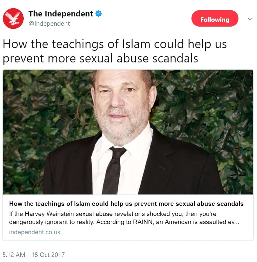 Beyond Satire. https://twitter.com/Independent/status/919536394795667456 We're reaching levels of irony that shouldn't even be possible.... The Independent 9 (