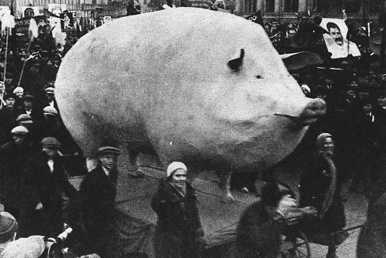 "Big Oat. Photo from a Soviet demonstration, late 1920s. ""Context unknown."".. Made from papier-mache in 30s to symbolize achievements of the animal husbandry or whatever you call it"