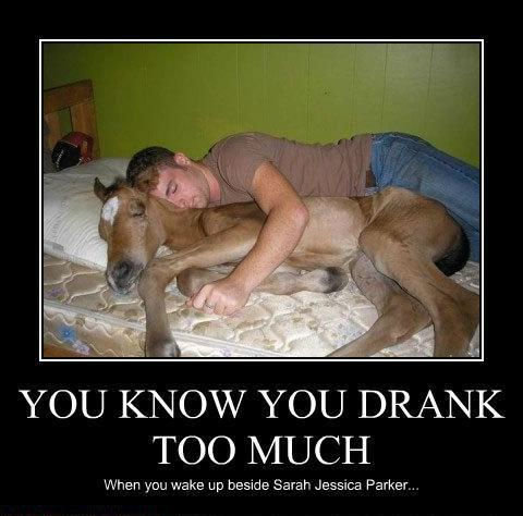 """Big Mistake. Thumbs appreciated. YOU Krig) NI/ YOU DRANK TOO MUCH When you wake up beside Serer"""" Jessica Parker ."""