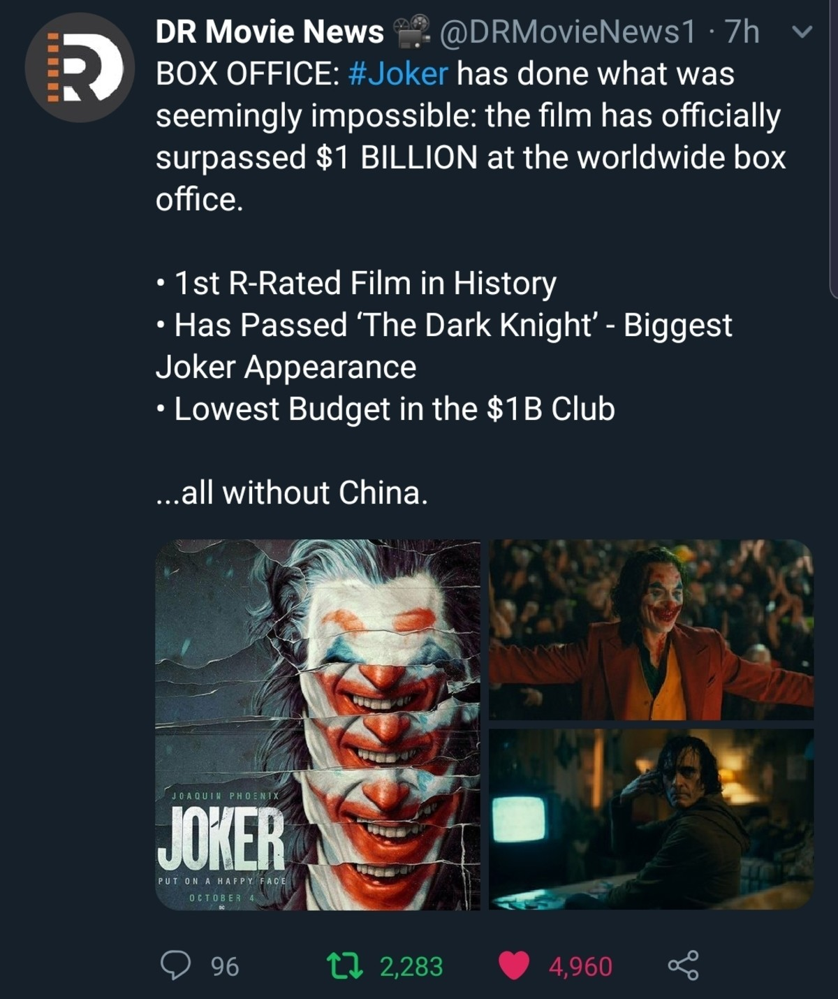 Biggest Joker of all time. .. Holy , Joker was the first R-rated film in history?