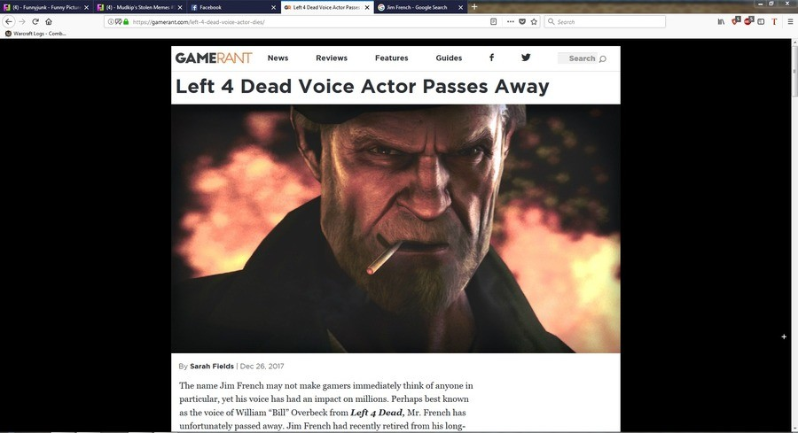 """Bill's Dead. Rest in Peace Bill.... I """")-Funnymanoffunny[' ctc GAMERANT News Reviews Features Guides I Left E! Dead Voice Actor Passes Away Sarah Fields \ DR A"""