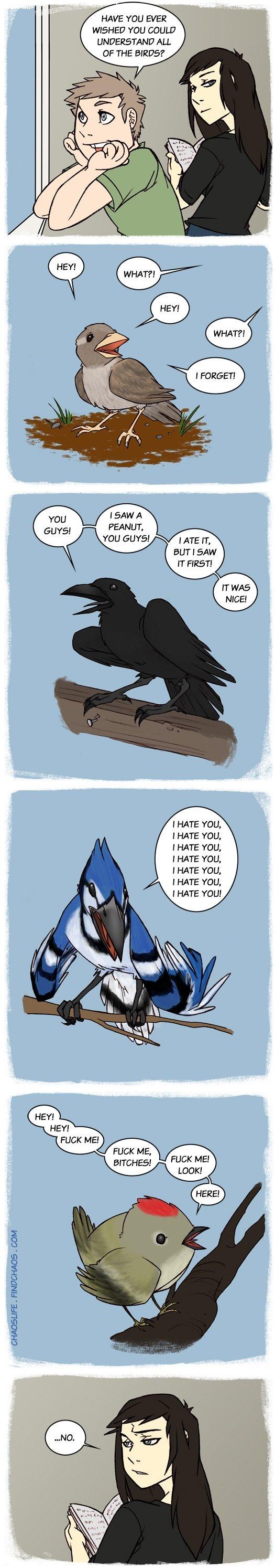 "Birds. . FINES"" -HADA . GUM HAVE Y' EVER? WISHED TDD All OF THE ? I SAN A PEANUT, I ATE IT, BUT I SAW I HATE fold, I HATE YOU, I HATE YOU, I HATE YOU, I HATE TH"