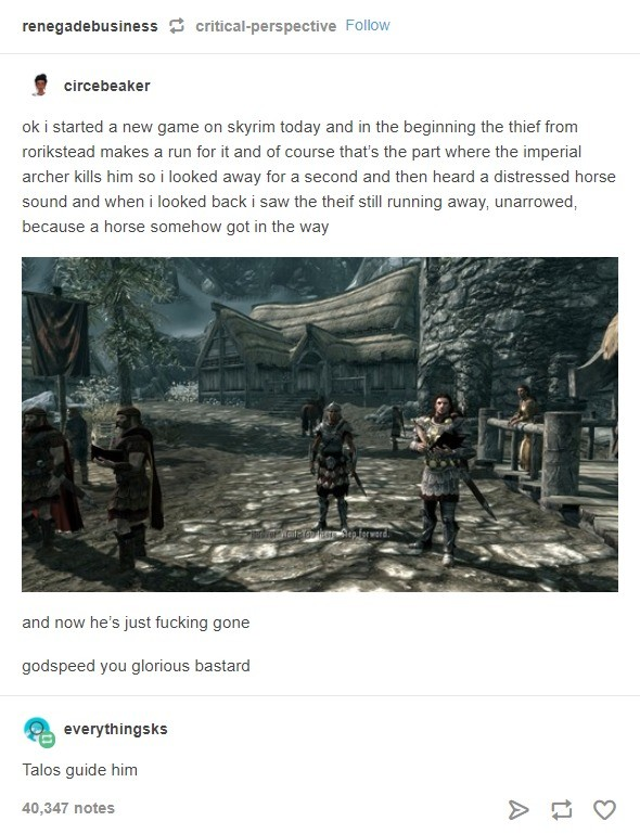 Blessings of Stendarr. I figured he's probably scripted to die, but this is Bethesda we're talking about. Their games are basically duct-taped together.. it Fel