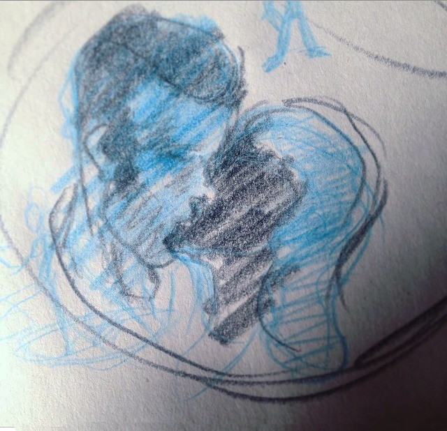 """Blue Kiss. This week in the """"Complementarianism series"""": I find it hard to draw people kissing so I thought I'd try. It's rather dramatic I think. joi"""