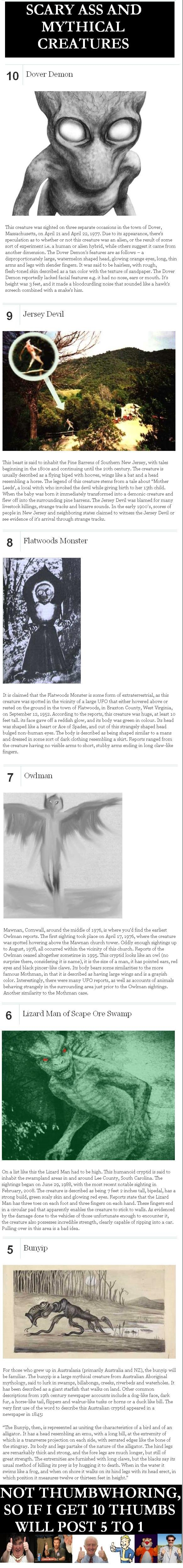 boogy boo!! list (myth list). . SCARY ASS AND MYTHICAL CREATURES 1 Dover Demon Thu: creature was sighted on three separate occasions In the town of Dover, Massa