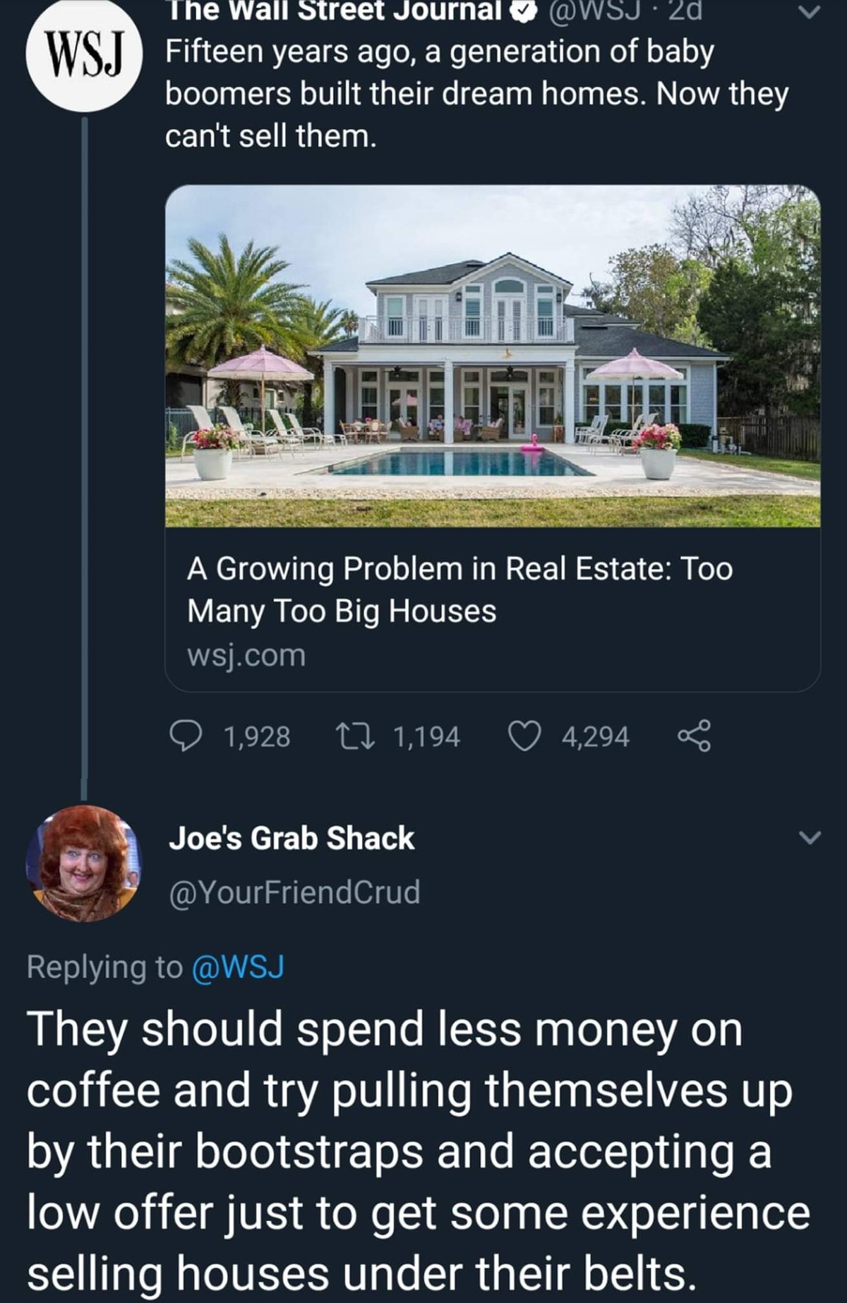 """Boomer McMansions. .. Rephrased """"New generation unable to afford the same luxuries as previous generation."""""""