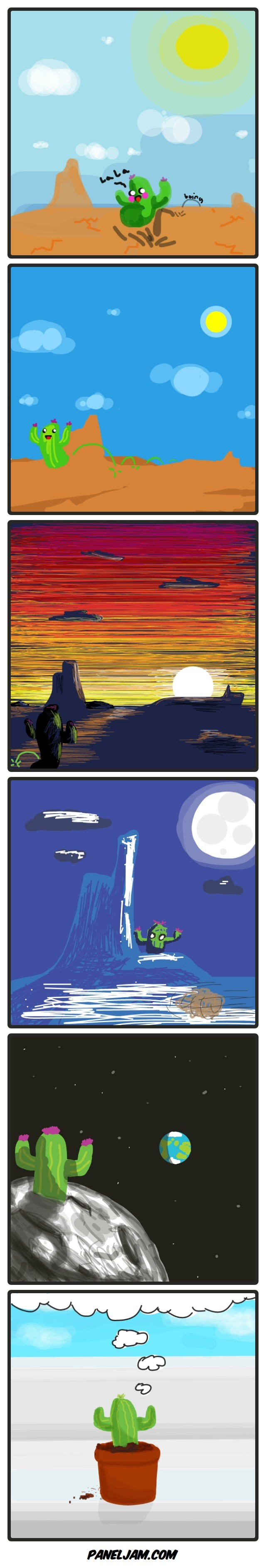 Cactus Adventure. Come draw with us! Each panel is drawn by a different artist... I love it