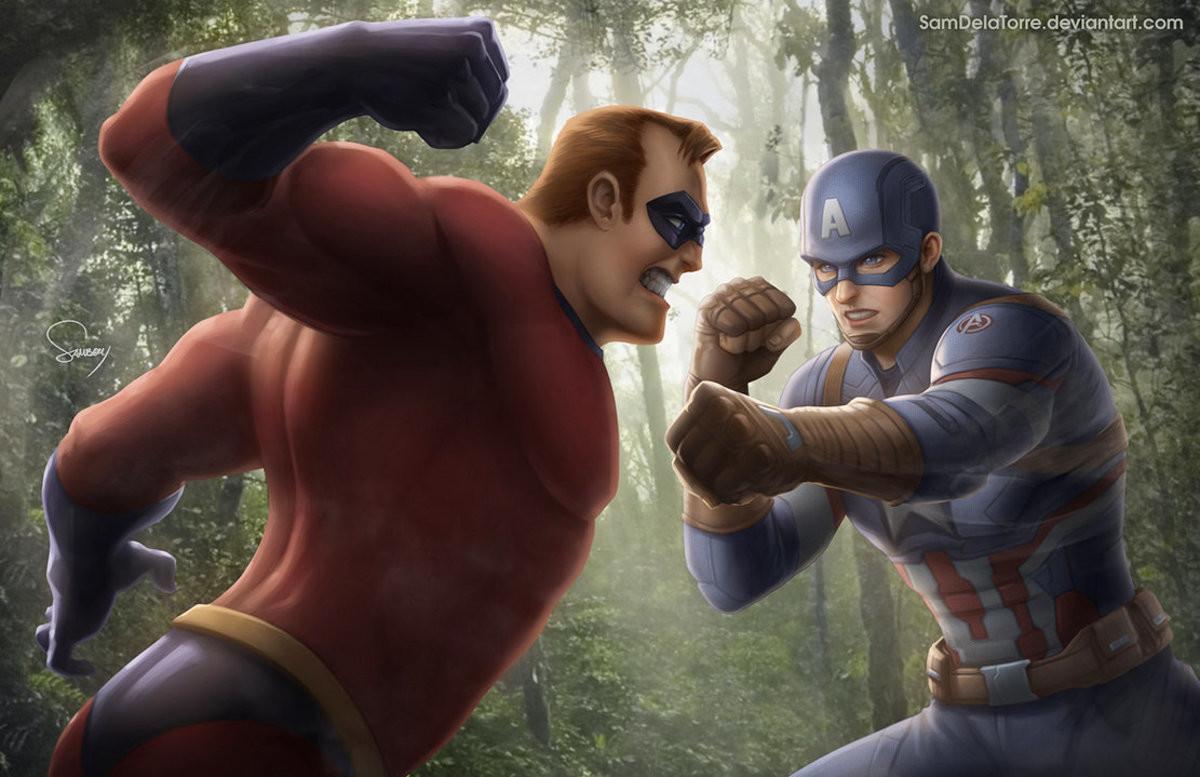 Captain America vs Mr. Incredible. .. Mr Incredible