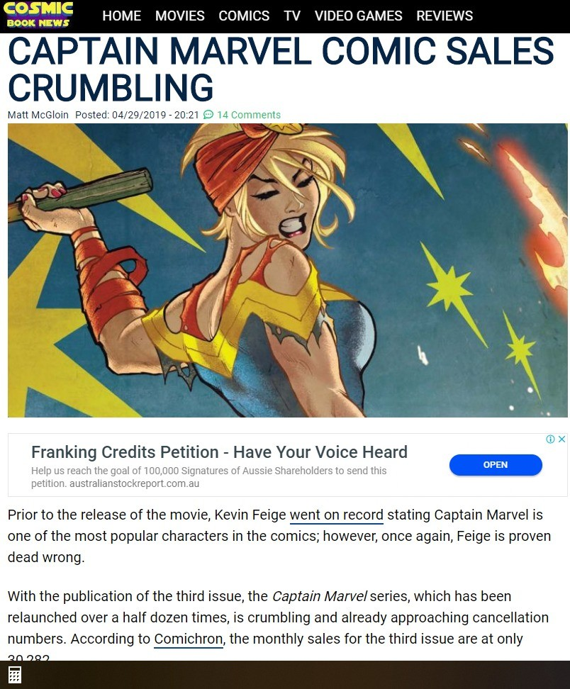 Captain Marvel fails to sell comics. .. Oh wow, a movie aimed to please angry feminists didn't make them buy comics? We must push feminism harder next time, so that we'd sell more comics. What do you