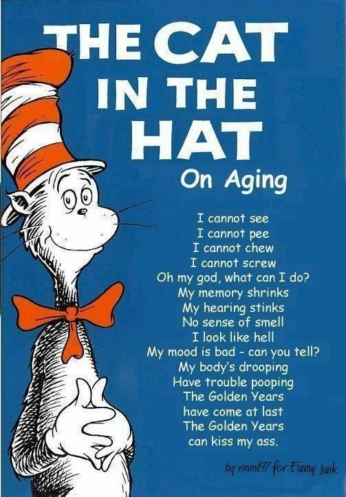 """Cat in the Hat on Aging. I lol'd. HAT On Aging I see I cannot pee I cannot chew T cannot screw Oh my god, whim"""" can I do? My memory shrinks My hearing stinks No"""