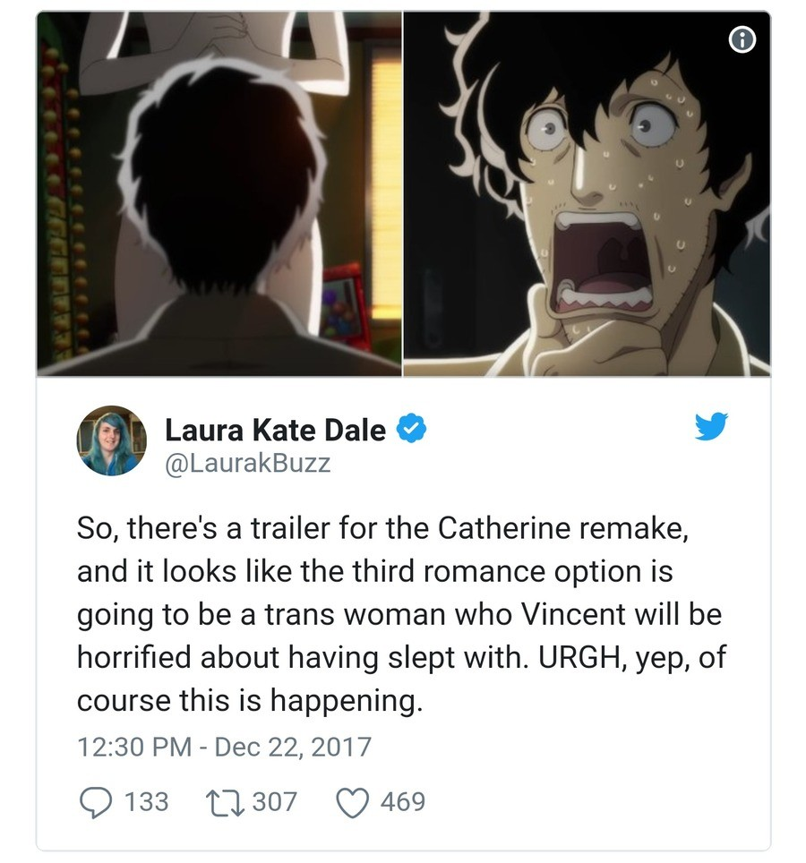 Catherine sequel/remake has traps and nobody's happy. join list: VideoGameHumor (1687 subs)Mention Clicks: 564500Msgs Sent: 5309451Mention History. 9 Laura Kate