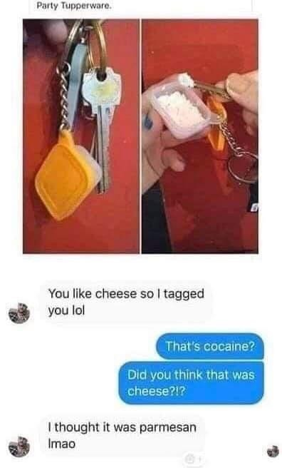 cheese. .. People do cocain with their keys?