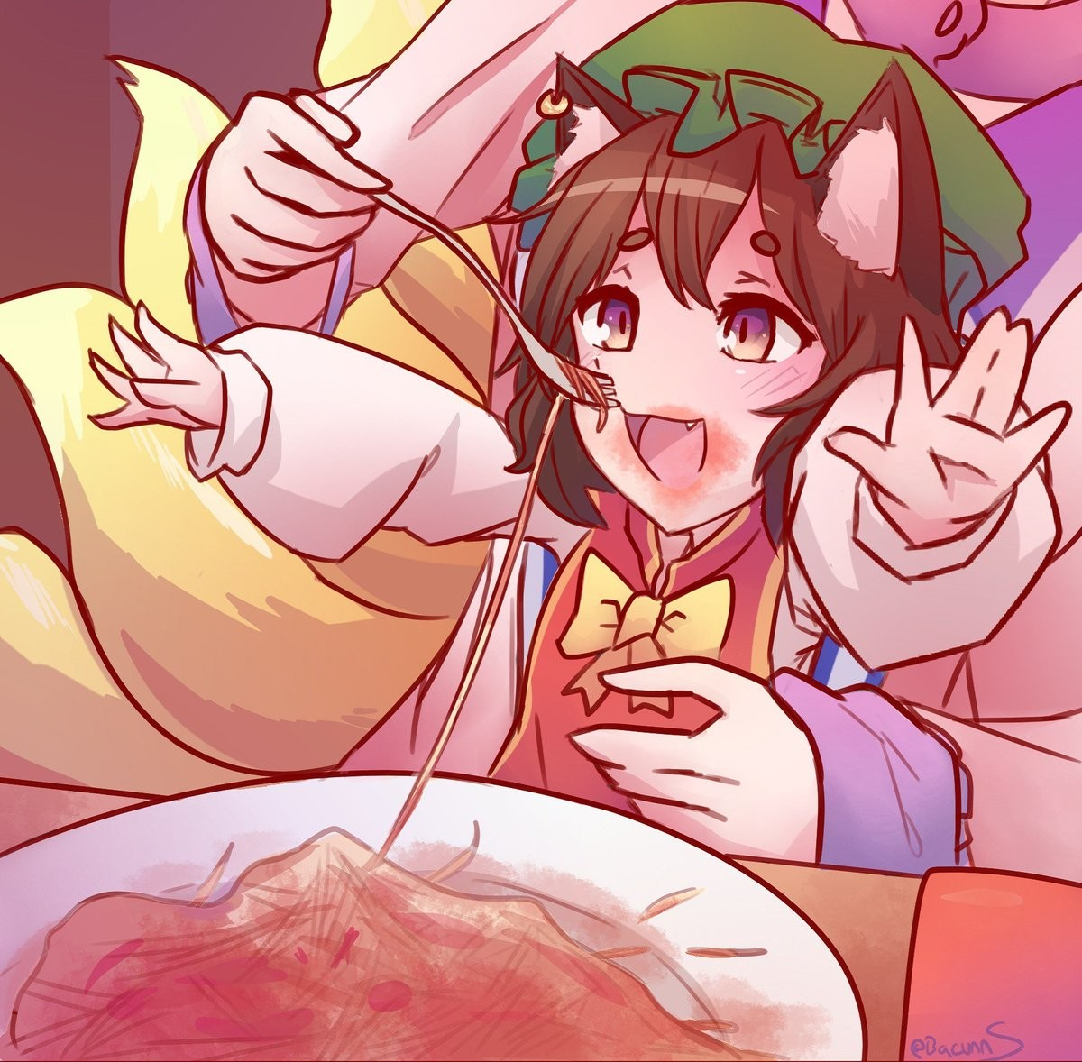 Chen gets Spaghetti. Source https://twitter.com/BacunnS/status/1019651827896209408 join list: TouhouWaifu (49 subs)Mention History join list:. leolol u might like this