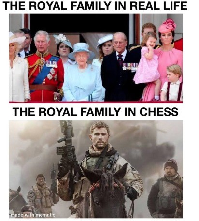 chess. .. So I was reading about this the other day. The pieces used to be (or their equivalents): King Minister - now Queen Cavalry - now Knights Elephantry - now Bishop