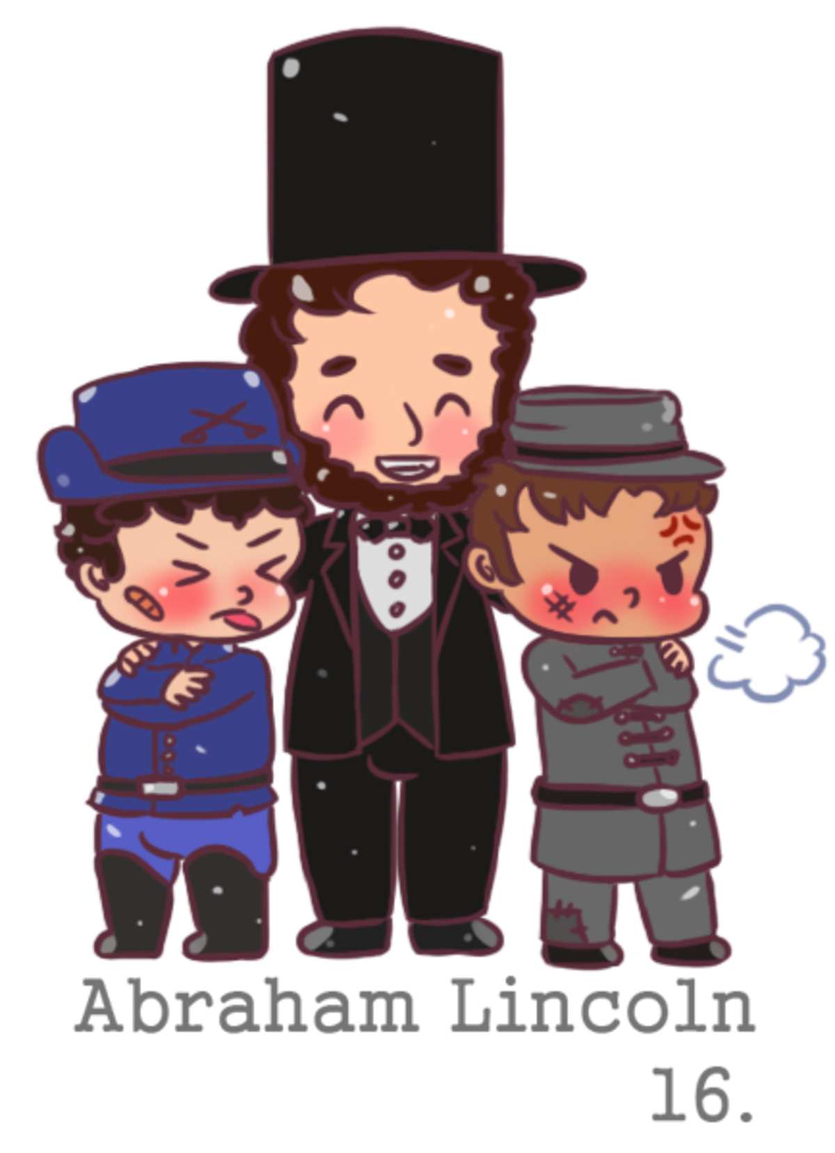 chibi Abraham Lincoln. He's hugging the Union and the Confederacy I really tried to capture the mood of the civil war when it was over. <3 For more like this