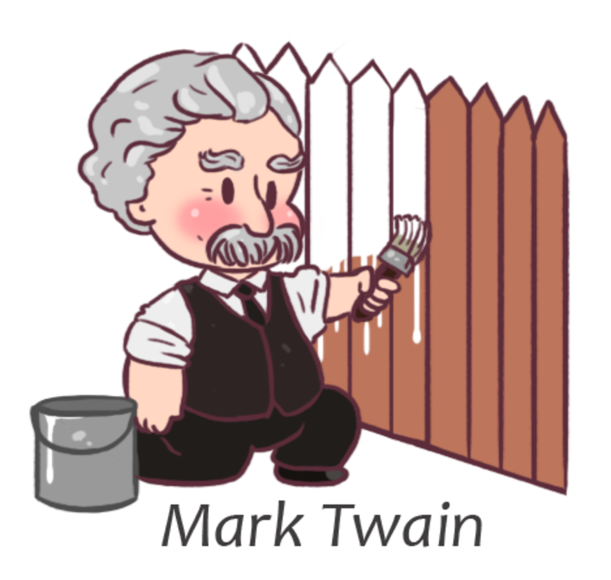 chibi Mark Twain. Chibi Mark Twain was a suggestion I took because look at that mustache and those eyebrows. Usually I play up the goofiness of the looks for ch