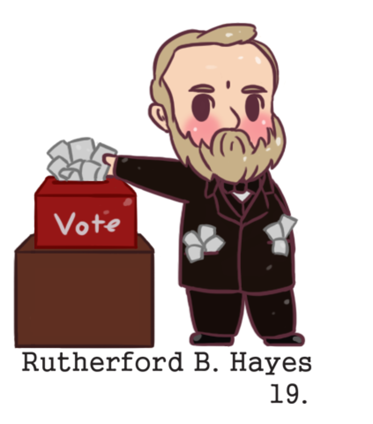 chibi Rutherford B. Hayes. He won by just one vote and it was shady business. I took a little break for Christmas but I'm back The first and foremost thing that