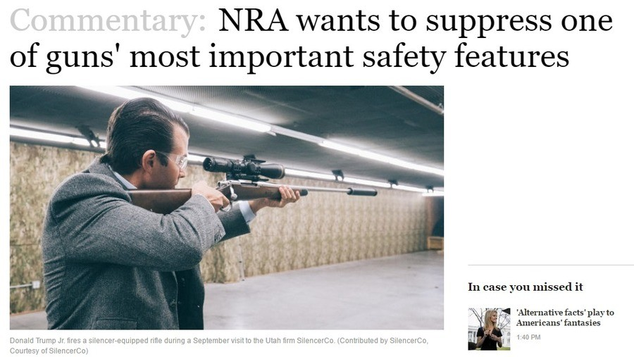 Chicago Tribune went full retard. . wants to suppress one of guns' most safety features acts' play to Americans' fantasies Donald Trump Jr. fires a rifle during