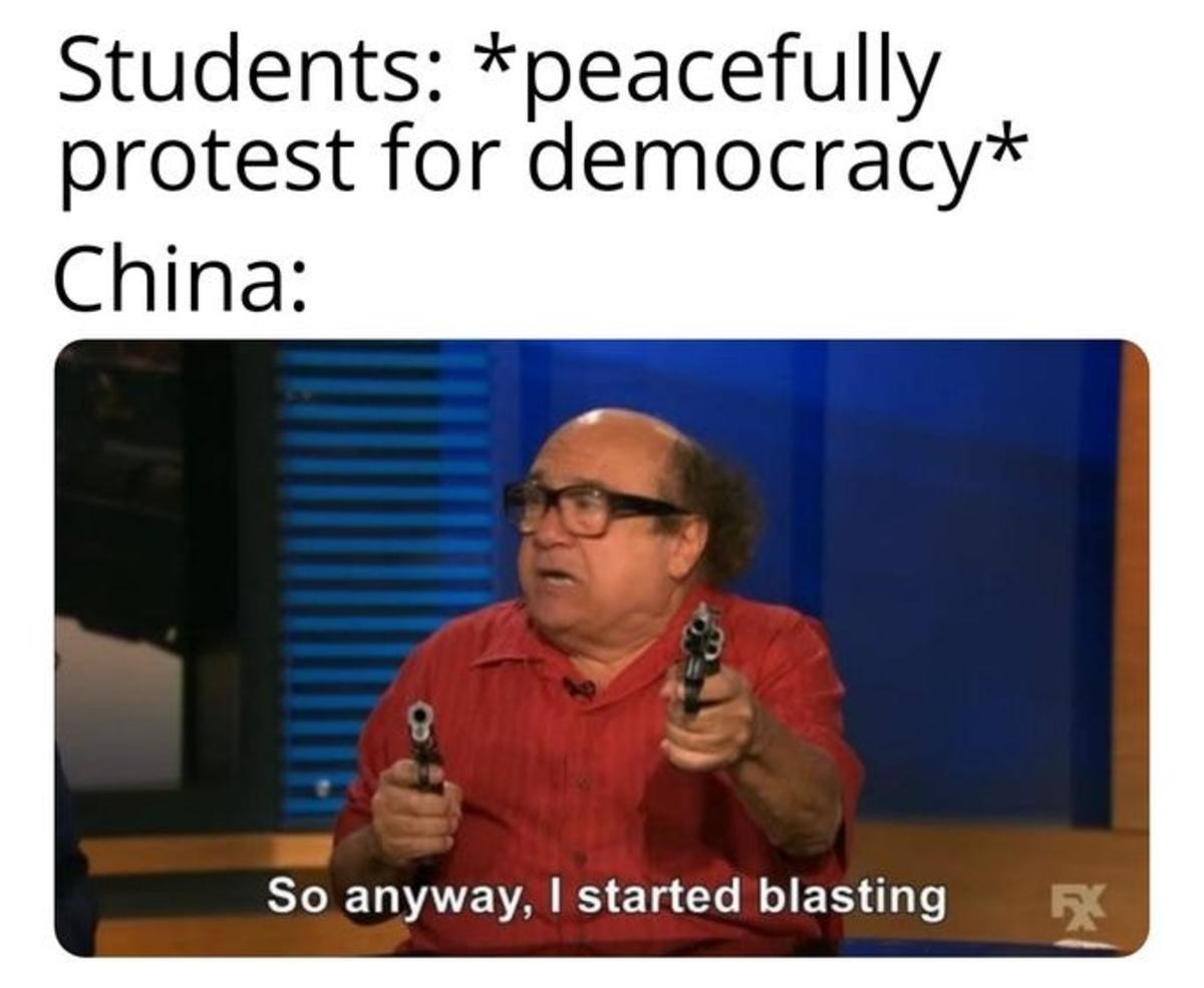 China Will Ban This. .. Isn't it weird that the one protest Antifa should be a part of they are nowhere to be seen?