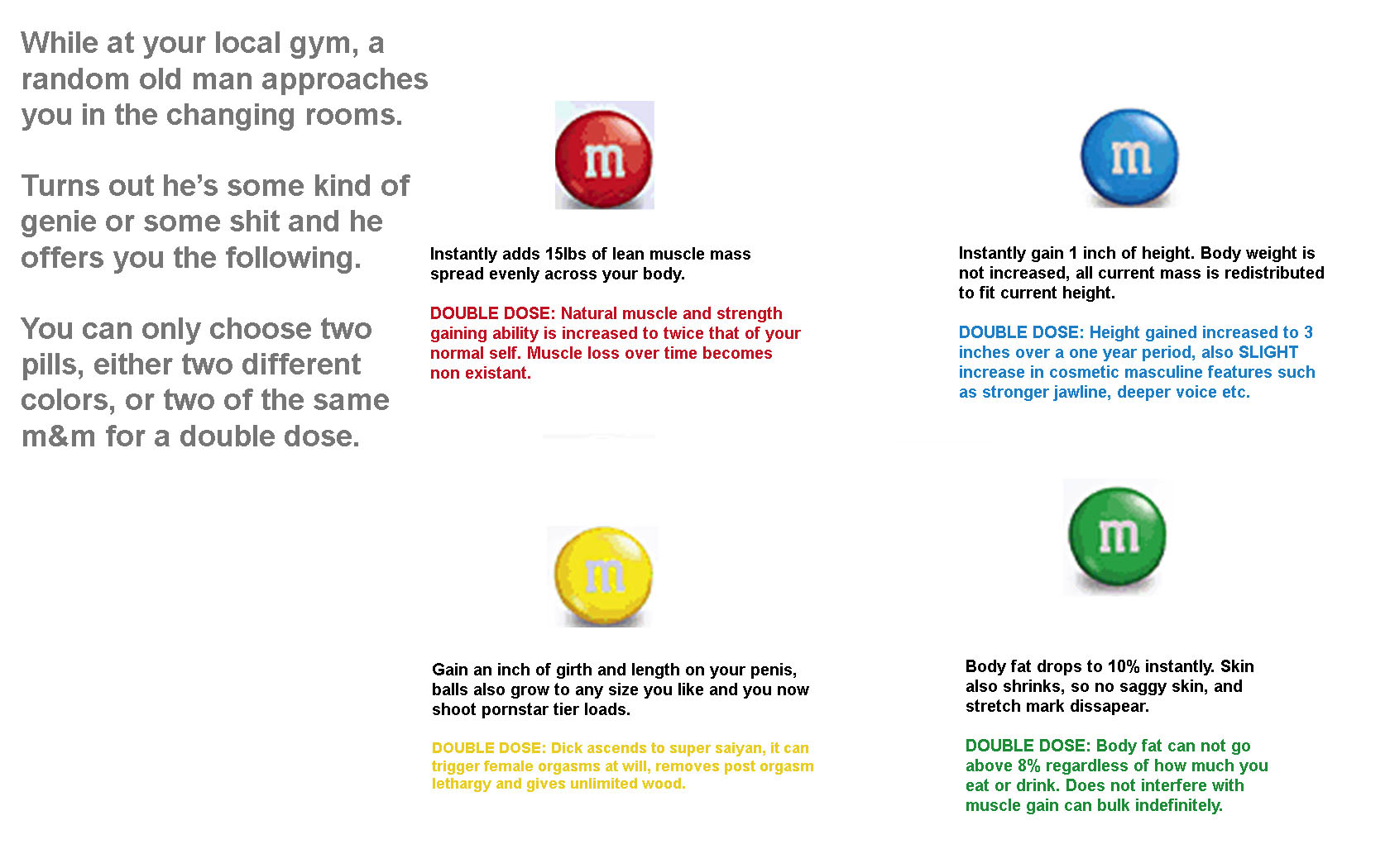 Choose. Choose which of these M&Ms you'd eat and which abilities you'd gain.. While at your local gym, a random old man approaches you in the changing rooms