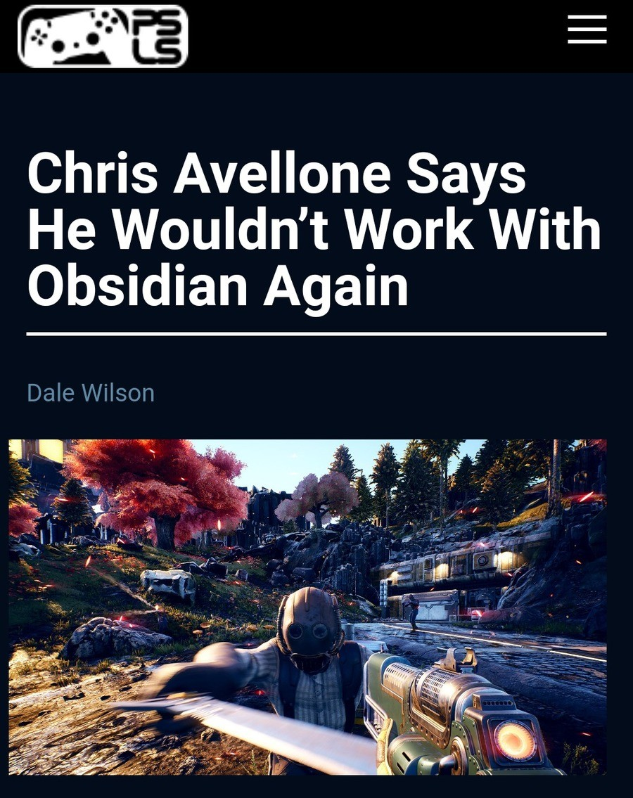 Chris Avellone Says He Wouldn't Work With Obsidian Again. Source: https://www.playstationlifestyle.net/2019/04/16/chris-avellone-wouldnt-work-with-obsidian-agai