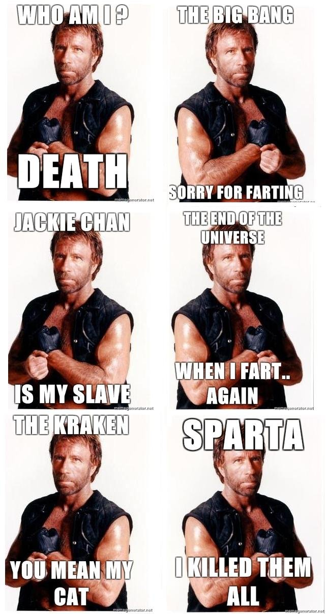 Chuck Norris. +20 for moar<br /> don't forget to thumb and comment. Ill tlt. t, Mthe aler. r,. funny :D