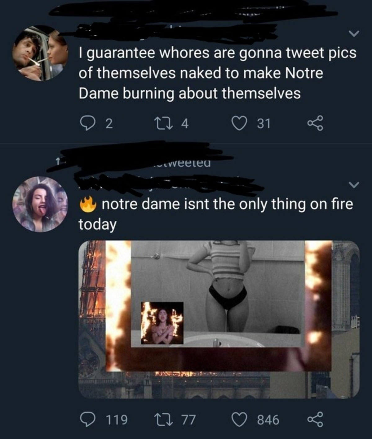 """Classy. .. Tbf at least she wasn't subtle about it or pretending like she cared, I'd be more annoyed by someone being like """"body shot in support of notre dame"""" o"""