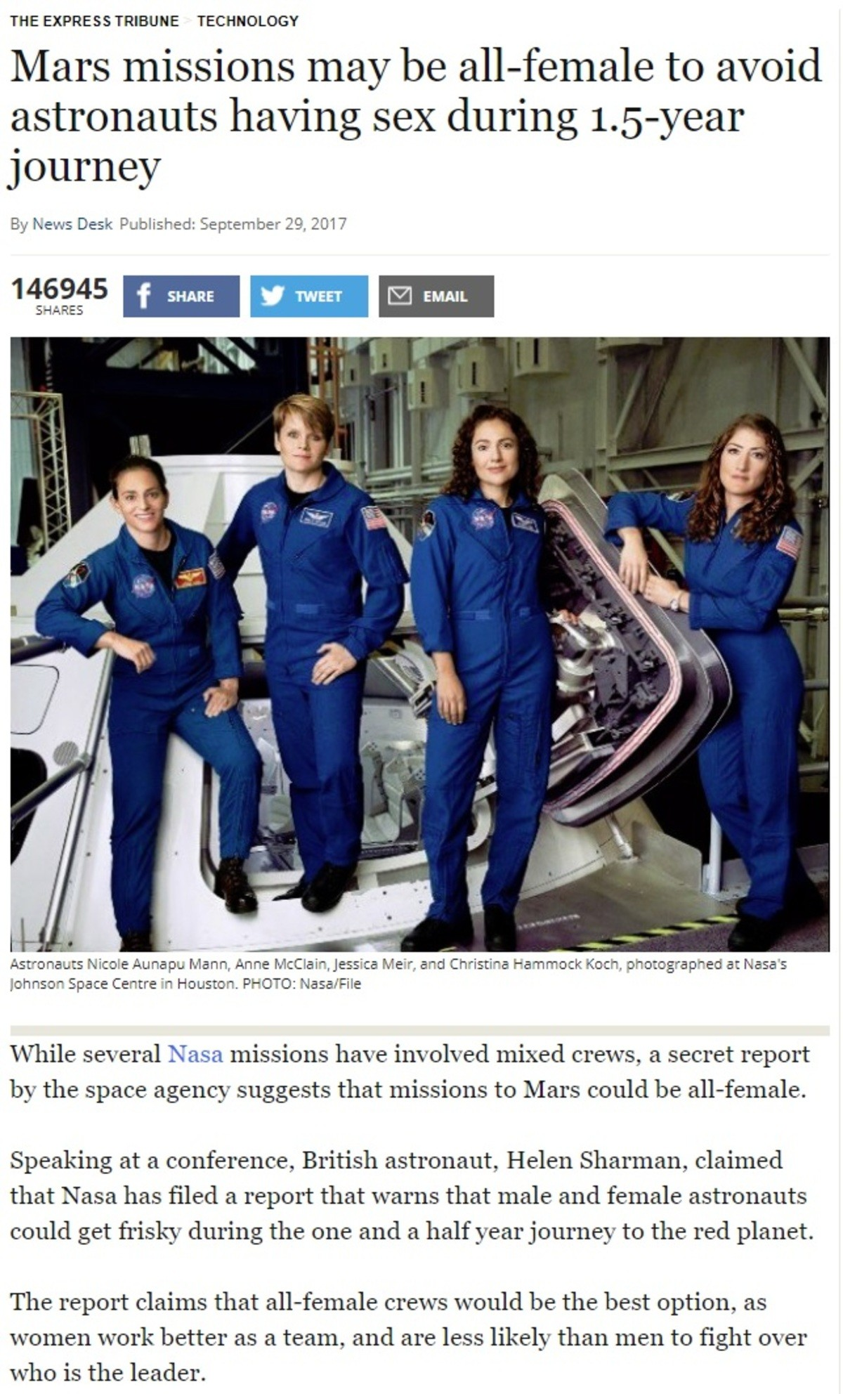 """""""Colonising"""" Mars. Poorly written article. But the point is to avoid pregnancies due to the high levels of radiation. The teams should be either all male or all"""
