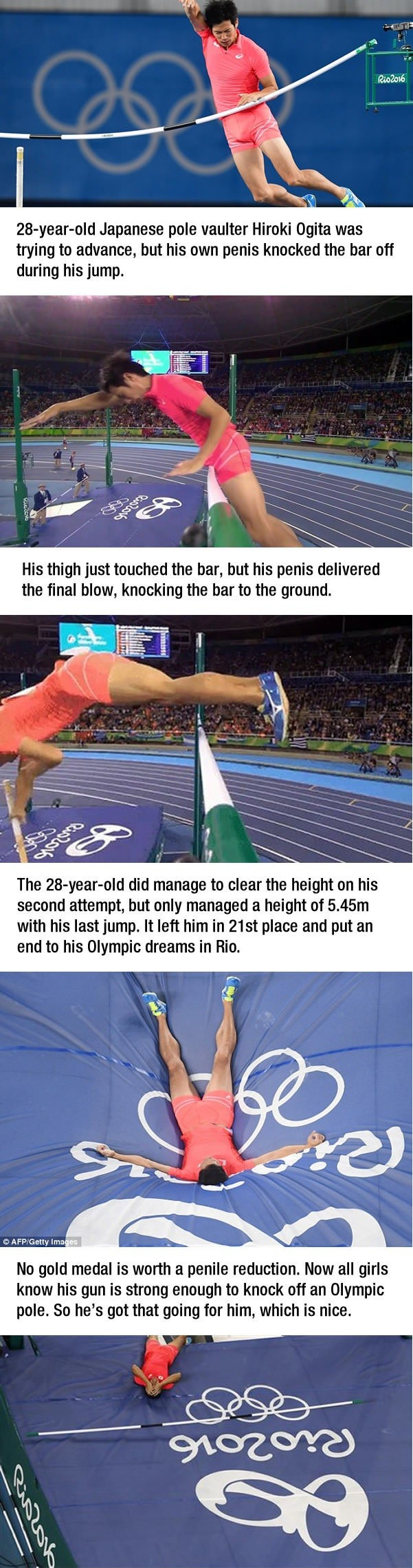 Crushed his Olympic Dreams. . Japanese pole mutter Hiroki (mite was trying to advance, but his own penis knocked the bar off during his jump. Hie thigh just tou