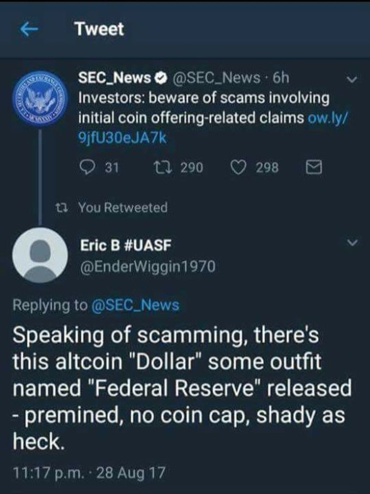 "Currency Scams. . Tweet Investors: beware of scams involving initial coin claims rt Eries# UASV fir Speaking of scamming, there' s this attain ""Dollar"" some out"