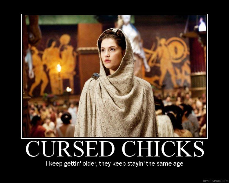 """Cursed Chicks. From 'clash of the titans'.. """"Clash of the Tit"""", eh? Don't we all wish..."""