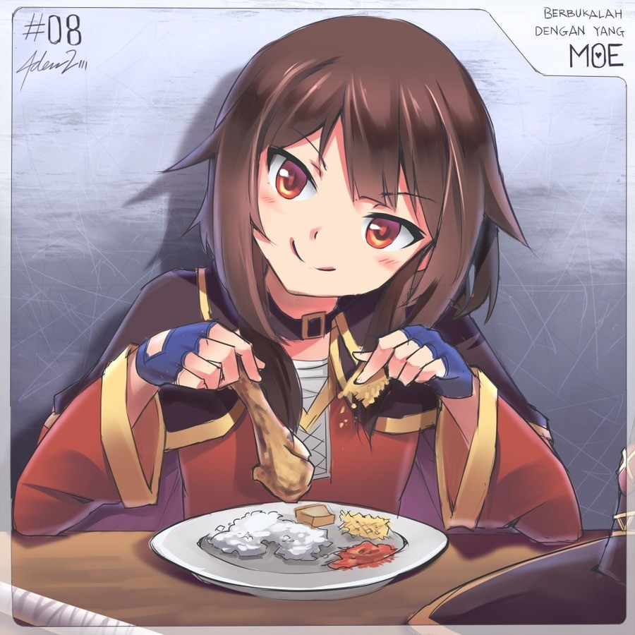 Daily Megu - 23. join list: DailySplosion (354 subs)Mention History www.pixiv.net/i/63213597.. Heh, kfc is not for you megumin eat popeye's it's better