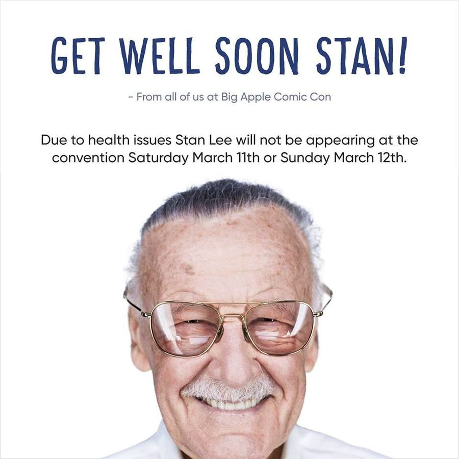 Damn Stan. Stan Lee has come down with a case of influenza and will not be able to attend the Big Apple Comic Con in New York. Jim Lee would be taking his place
