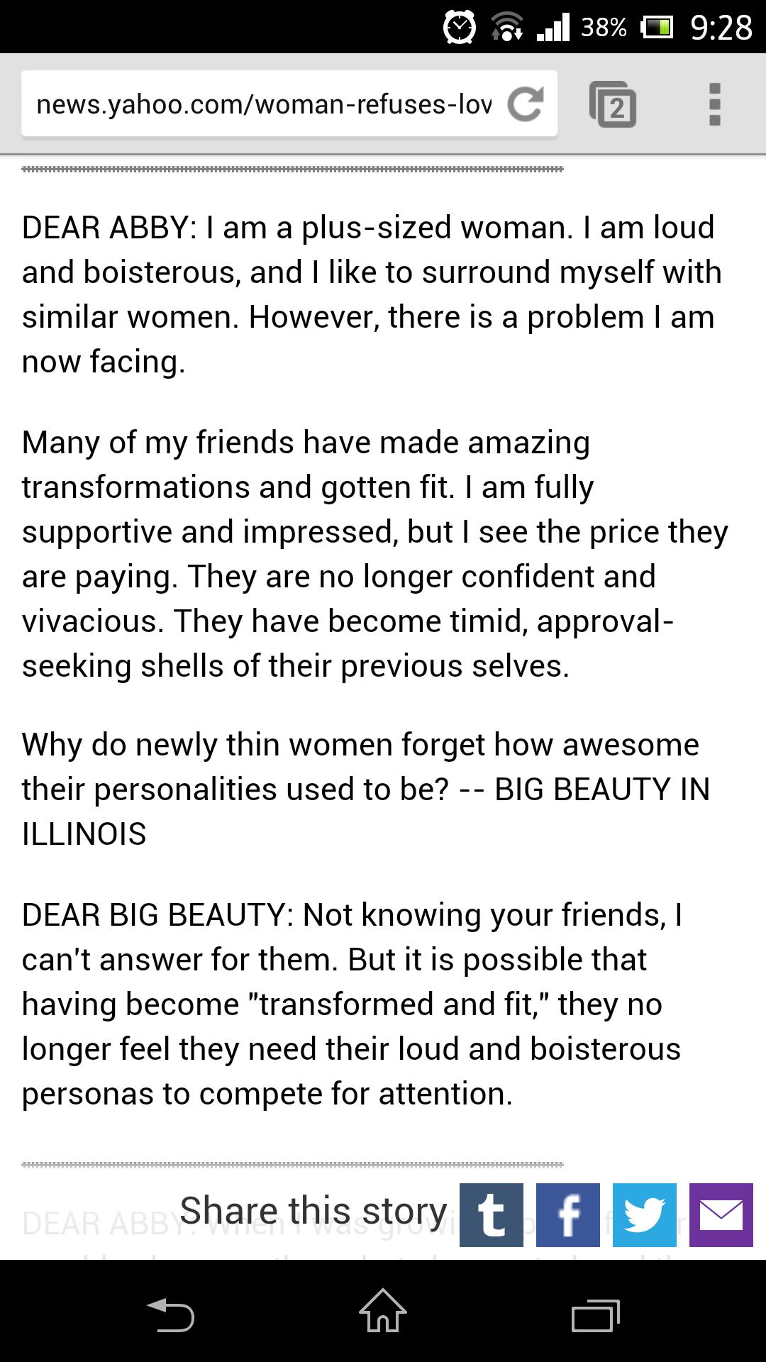 DAYUM SON REKT. . news. yahoo. com/ Ca DEAR ABBY: I am a pluralized woman. I am loud and boisterous, and I like to surround myself with similar women. However,