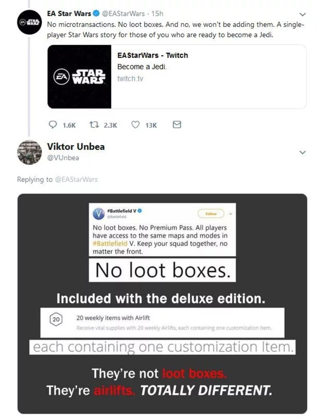 "deadpan offbeat Fox. ""Trust us"" https://twitter.com/EAStarWars/status/1116917677115760640?s=19.. see this is why i like nintendo, they don't pull like this"