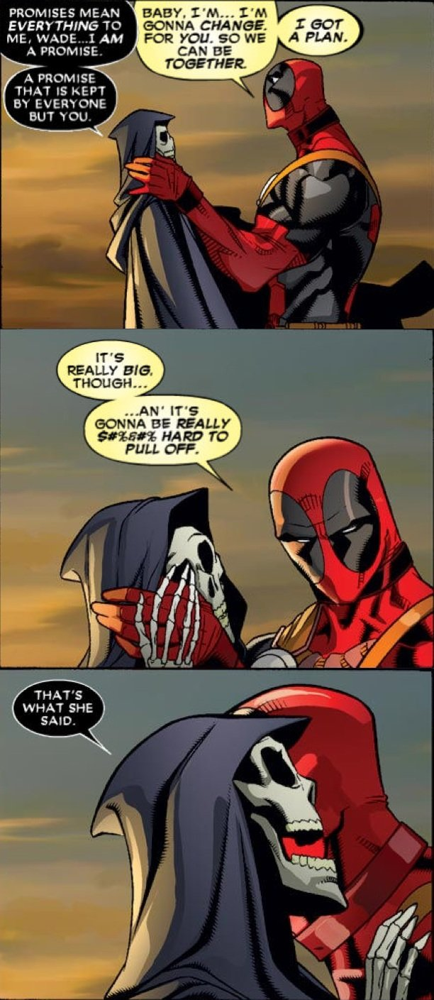 """Deadpool + Death Forever. What's the internet's favorite animal? The lynx.. GONNA . F' H. CEI"""" MEAING EVERYTHING TC! TOGETHER A PROMISE AH' ITS PULL FOR YOU. FT"""