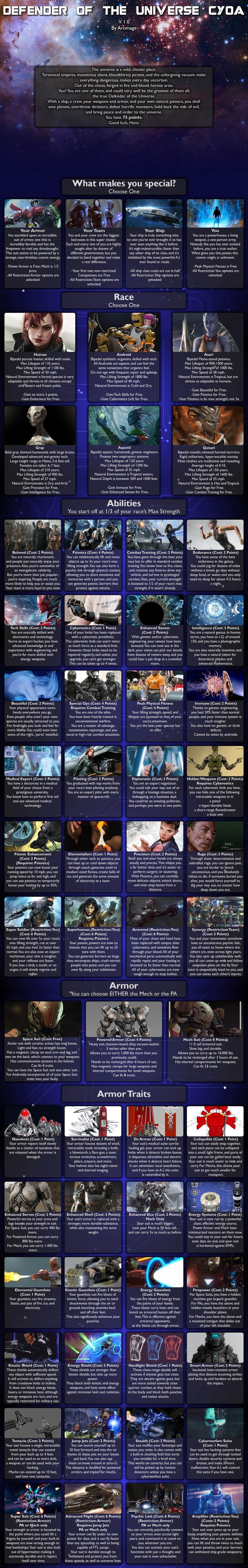 Defender of the Universe CYOA. .. Hey all! Back with my second CYOA! After this will be the Ultimate God CYOA,and after i post v1.0 of that, i'll work my way back and release 1.1 of this, and 2.
