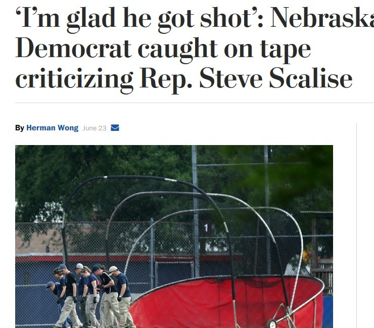 "democrats aren't violent.... This is what the Nebraska Democrat said: ""I'm glad he got shot. … I wish he was (expletive) dead."". Democrat '/ ill)) EOL] tape By"