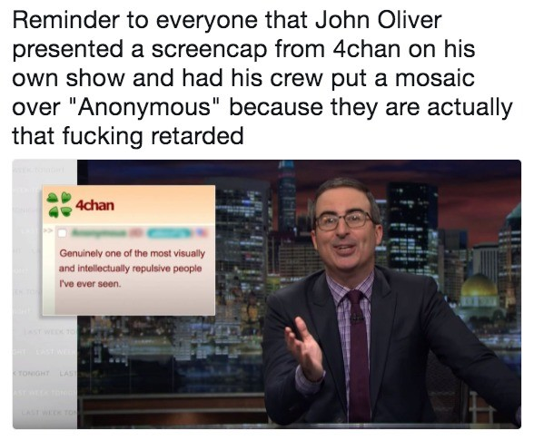 descriptive mindless outrageous Swan. .. It's really nice that John Oliver presents the facts for once