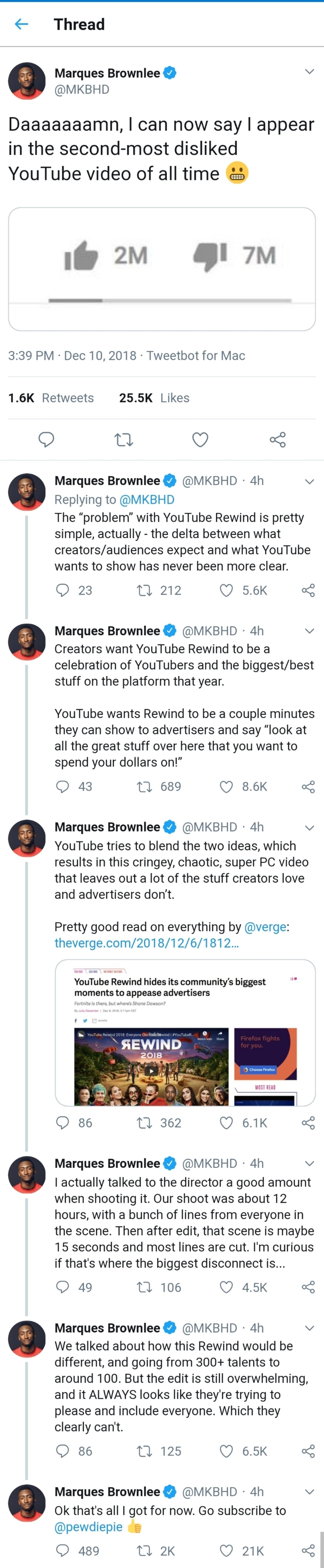 Disliked video. https://mobile.twitter.com/MKBHD/status/1072138771779461121?s=19.. Like the last Blizcon, Youtube Rewind is now for investors/advertisers rather than its actual audience.