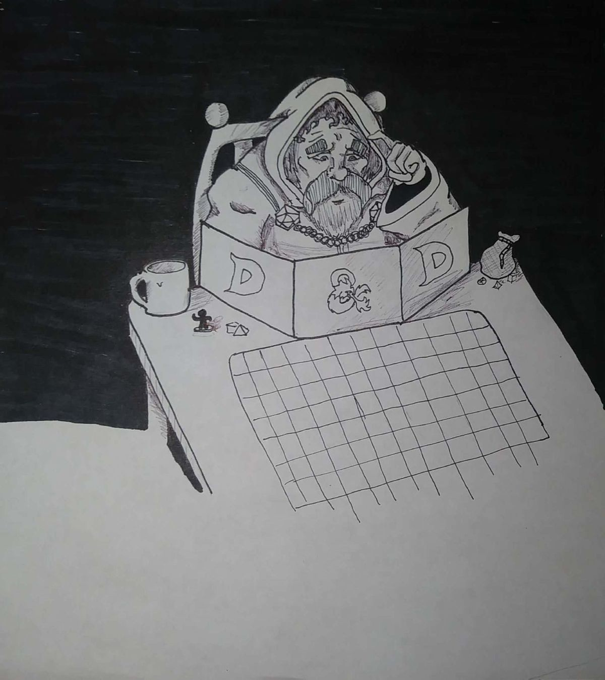 Dm Inktober day 5. Day 5 prompt. Build is the prompt, so I drew a Dm world building. He seems to be at a loss at what to do next after players have essentially