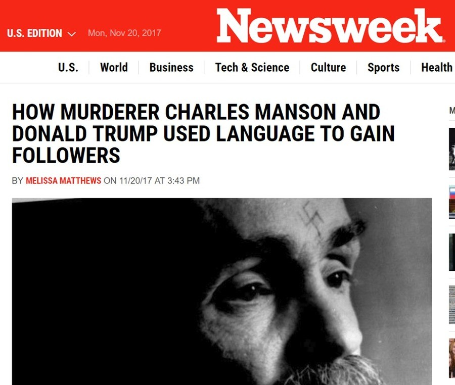 Donald Trump and Charlie Manson - One in the Same?. Just when you thought they couldn't get any more ridiculous. . . . US. World Business , , Culture spurts Hea