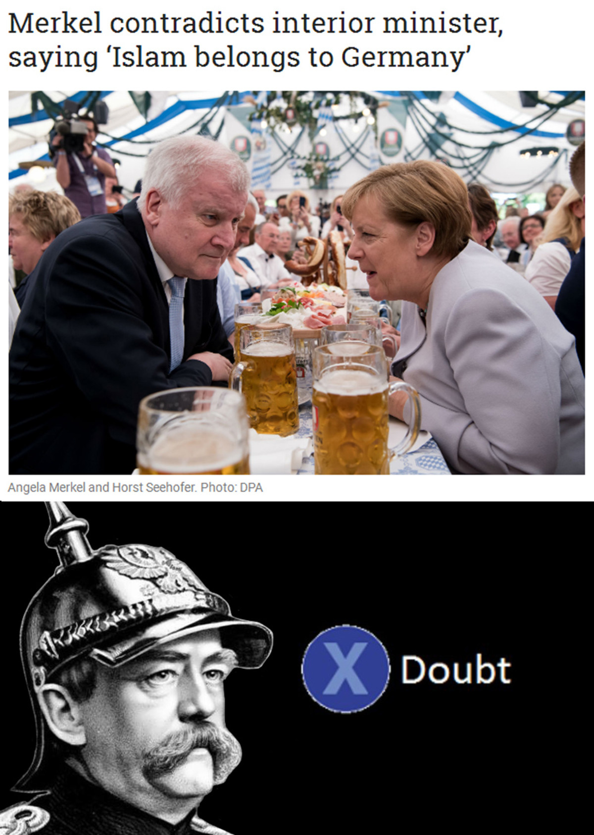 Double doubt. . Merkel contradicts interior minister, saying 'Islam belongs to Germany'. Couldn't help noticing how White the crowd is at Merkel's private get together.