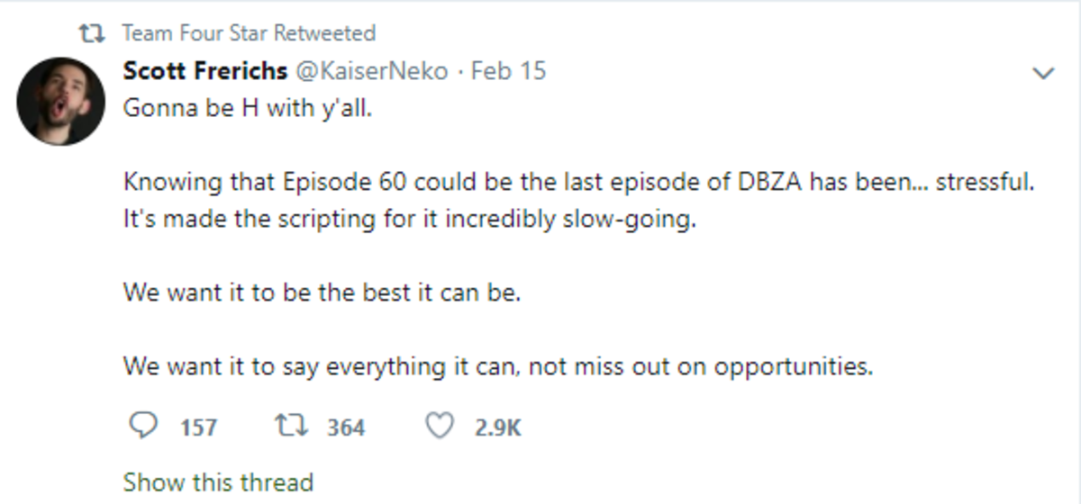 DragonBall abridged. https://twitter.com/teamfourstar?ref_src=twsrc%5Egoogle%7Ctwcamp%5Eserp%7Ctwgr%5Eauthor it seems that Teamfourstars DBZ: Abridged is potent