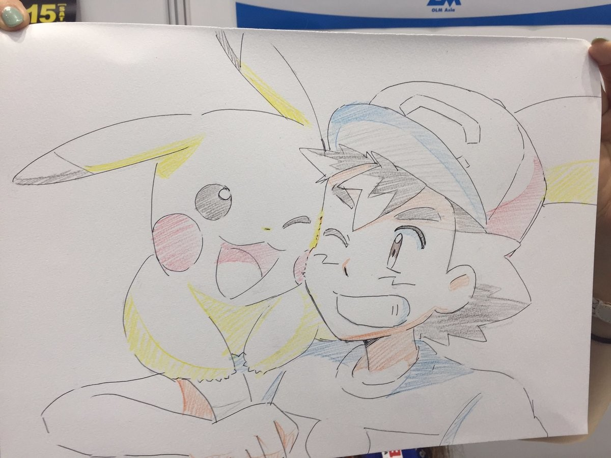 Drawings of Ash/Pikachu and Lillie/Snowy by OLM. olm/status/941855688426323968 olm/status/942214426760921088.